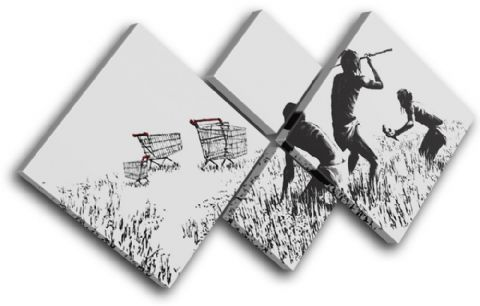 Trolley Hunters Banksy Painting - 13-0946(00B)-MP19-LO